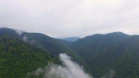 Silueta del hombre de negocios Cowering El volar sobre las altas montañas en nubes hermosas Tiro de la cámara aérea almacen de video