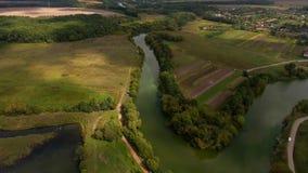 Silueta del hombre de negocios Cowering El volar sobre el río hermoso y el bosque hermoso metrajes