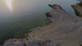 Silueta del hombre de negocios Cowering Paisaje hermoso del bosque y del río, visión desde el aire metrajes