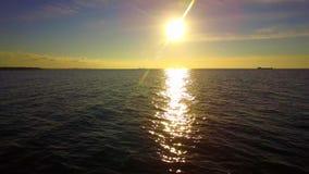Silueta del hombre de negocios Cowering Puesta del sol hermosa sobre las aguas de mar almacen de video