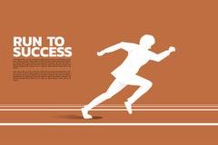 Silueta del hombre de negocios que corre en pista al éxito stock de ilustración