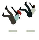 silueta del hombre y de la mujer en caer inmóvil de la actitud libre illustration