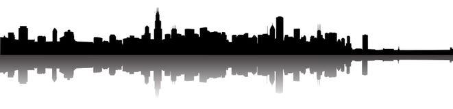 Silueta del horizonte de Chicago Imagen de archivo libre de regalías