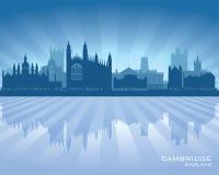 Silueta del horizonte de la ciudad de Cambridge Inglaterra ilustración del vector