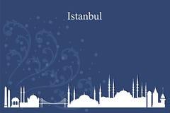 Silueta del horizonte de la ciudad de Estambul en fondo azul Fotografía de archivo libre de regalías