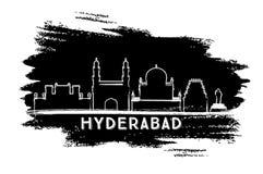 Silueta del horizonte de la ciudad de Hyderabad la India Bosquejo drenado mano libre illustration