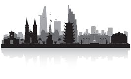 Silueta del horizonte de la ciudad de Vietnam de la ciudad de Ho Chi Minh ilustración del vector