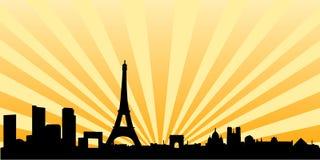 Silueta del horizonte de la puesta del sol de París Fotos de archivo libres de regalías