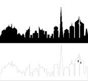 Silueta del horizonte de los UAE Imagenes de archivo
