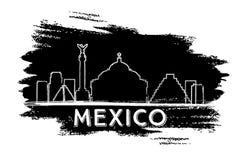 Silueta del horizonte de México Bosquejo drenado mano stock de ilustración
