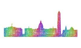 Silueta del horizonte de Washington - línea arte multicolora libre illustration