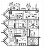 Silueta del interior de la casa Imagen de archivo libre de regalías
