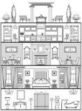 Silueta del interior de la casa Ilustración del vector Foto de archivo