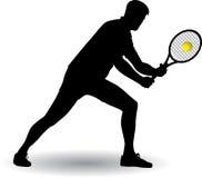 Silueta del jugador de tenis Imagenes de archivo