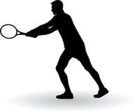 Silueta del jugador de tenis fotos de archivo