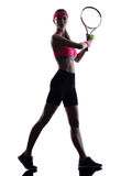 Silueta del jugador de tenis de la mujer Foto de archivo libre de regalías