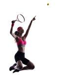 Silueta del jugador de tenis de la mujer Foto de archivo