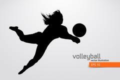 Silueta del jugador de voleibol stock de ilustración