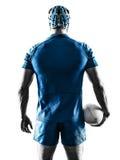 Silueta del jugador del hombre del rugbi Foto de archivo libre de regalías