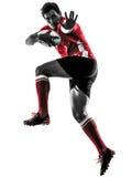 Silueta del jugador del hombre del rugbi aislada Imagen de archivo