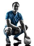 Silueta del jugador del hombre del rugbi aislada Fotos de archivo
