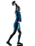 Silueta del jugador del hombre del rugbi aislada Imagenes de archivo