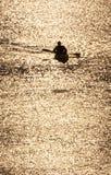 Silueta del kajak Foto de archivo libre de regalías