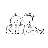 Silueta del lineart del día del ` s de la tarjeta del día de San Valentín de dos pequeños niños Imágenes de archivo libres de regalías