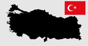 Silueta del mapa del vector de Turquía y bandera de Turquía del vector libre illustration