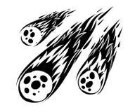 Silueta del meteorito de la llama Caída de la lluvia del meteorito en el planeta en estilo de la historieta Icono del cataclismo  ilustración del vector