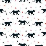 Silueta del modelo blanco inconsútil del leopardo Imágenes de archivo libres de regalías