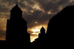 Silueta del monasterio Imagen de archivo libre de regalías