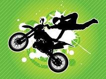 Silueta del motorista del motocrós Foto de archivo libre de regalías