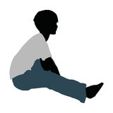 silueta del muchacho en actitud feliz de la charla libre illustration