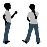 silueta del muchacho en actitud feliz de la charla stock de ilustración