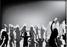 Silueta del negro de la gente del partido Imagen de archivo