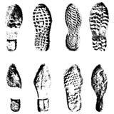 Silueta del negro de zapatos de los lenguados de la impresión de la colección Foto de archivo libre de regalías