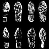 Silueta del negro de zapatos de los lenguados de la impresión de la colección Ilustración del vector Fotos de archivo