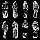 Silueta del negro de zapatos de los lenguados de la impresión de la colección Ilustración del vector Fotografía de archivo