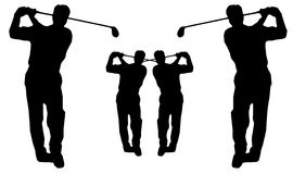 Silueta del oscilación del golf Fotografía de archivo libre de regalías