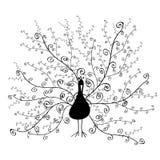 Silueta del pavo real con la cola espiral ornamental Imágenes de archivo libres de regalías
