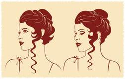 Silueta del perfil de la cara de la mujer Imagen de archivo