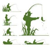Silueta del pescador ilustración del vector
