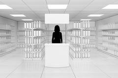 Silueta del promotor de la mujer detrás de la promoción publicitaria en blanco imagen de archivo