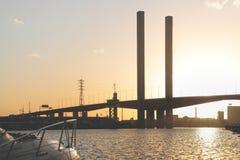 Silueta del puente de Bolte Foto de archivo