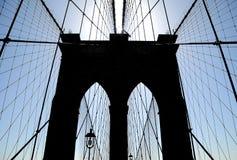 Silueta del puente de Brooklyn Imágenes de archivo libres de regalías