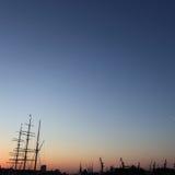 Silueta del puerto de Hamburgo Fotos de archivo libres de regalías