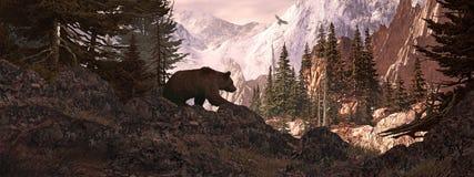 Silueta del puesto de observación del oso del grisáceo Foto de archivo