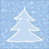 Silueta del árbol de navidad con nieve que cae Imágenes de archivo libres de regalías