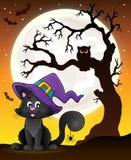 Silueta del árbol y gato de Halloween Imagen de archivo